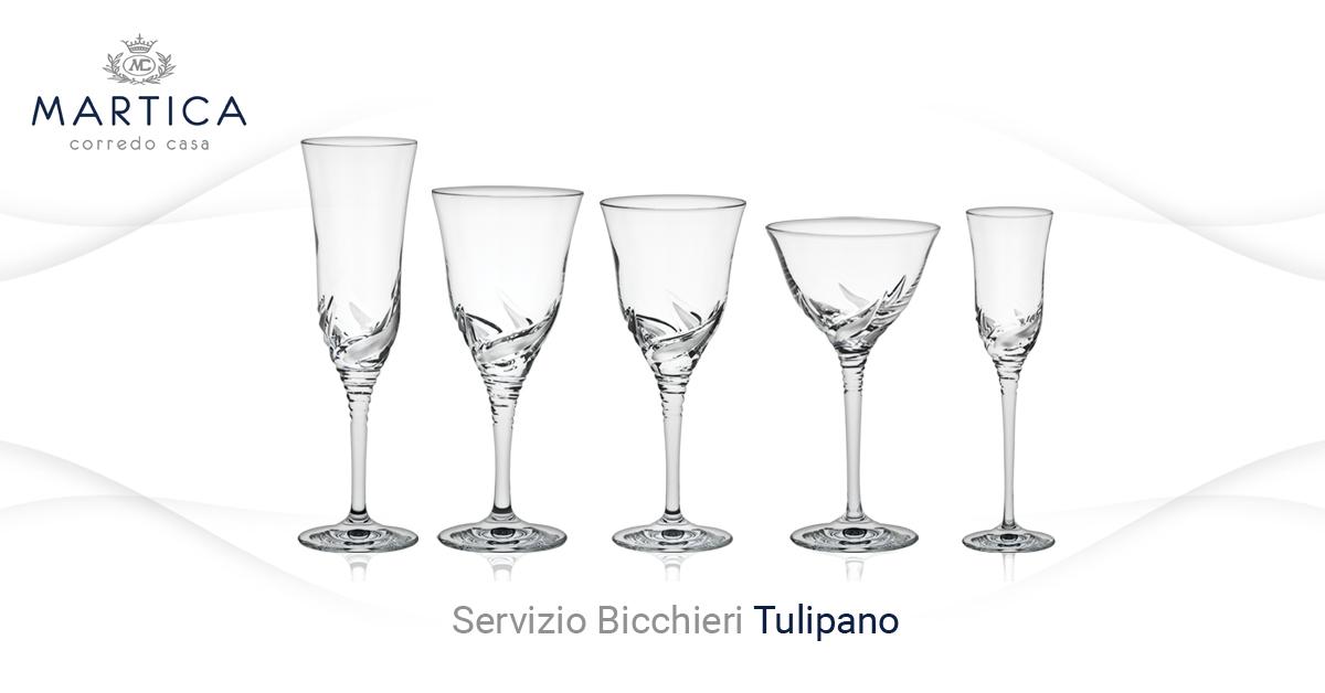 Servizio di calici moderno in cristallo con incisione for Bicchieri tulipano